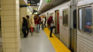 Passengers and TTC subway old Bombardier train in the Green Line Toronto OntarioCanada