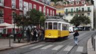 Passengers board tramway headed to Estrela in Portugal
