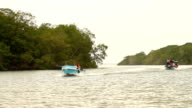 Passengers boats navigate near mangroves in Jambeli shoreline.