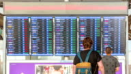Passengers checking flights information on departure information signboard,Zoom Out
