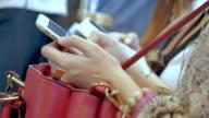Passengers using smart phone,Close-up