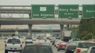 POV Passing road sign for 'Los Angeles' on U.S.101 near San Francisco, California, USA