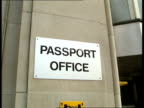 Passport Office Dispute CR374 PASSPORT 30 GV entrance to Clive House as people in and out London ITN Liverpool 0335 GV passport office TGVs people...