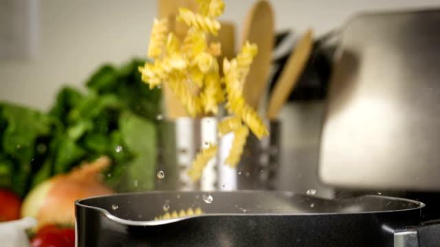 Pasta Cooking Falling Slow Motion