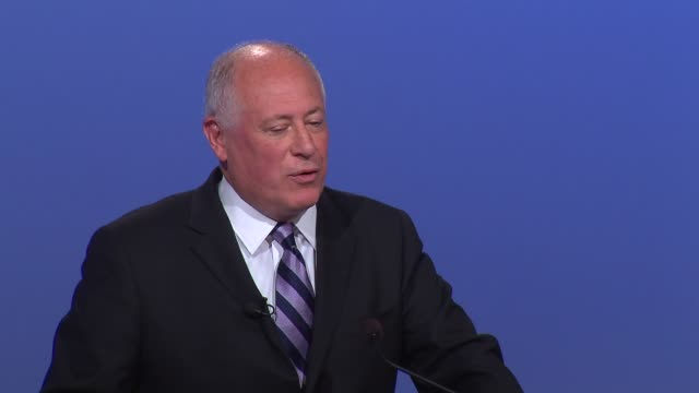 Pat Quinn talks about limiting terms in office and education at a Illinois governor's debate in Peoria Illinois on Oct 9 2014