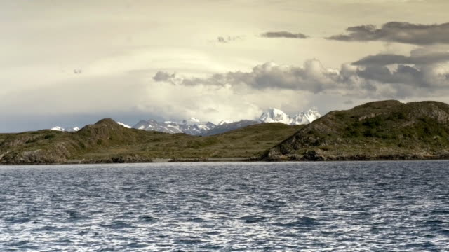 Patagonian andes mountains while crossing the Beagle Channel