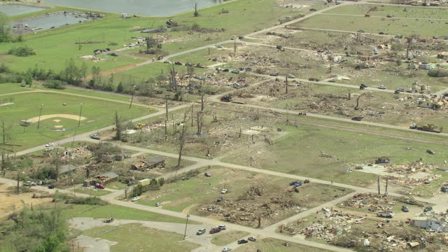 WS AERIAL TD Path of tornado and destroyed houses and buildings / Smithville, Mississippi, United States