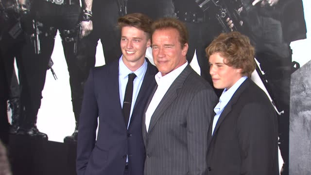 Patrick Schwarzenegger Arnold Schwarzenegger Christopher Schwarzenegger at The Expendables 2 Los Angeles Premiere on 8/15/12 in Hollywood CA
