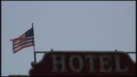 (HD1080i) Patriotic Hotel Under American Flag