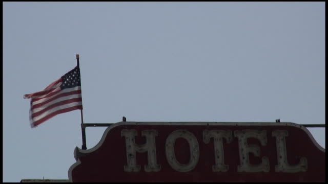 (HD1080i) Patriotic Hotel Under American Flag