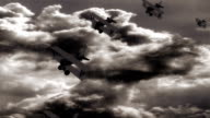 patrol aircraft flying in the storm