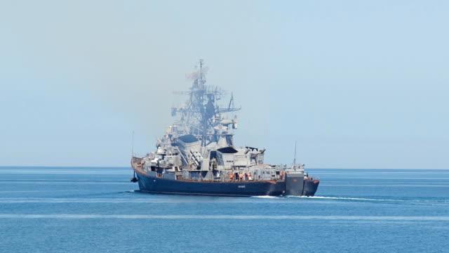 patrolling warship