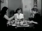 DRAMATIZATION 'Patti' eating at table in nice apartment w/ two other models 'Patti' posing in office for ad executives and artist CU ad sketch SAKS...