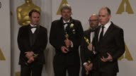 SPEECH Paul Franklin Andrew Lockley Ian Hunter and Scott Fisher at the 87th Annual Academy Awards Press Room at Dolby Theatre on February 22 2015 in...