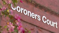 G4S criticised Sign 'Coroners Court' on wall PULL Window of court building