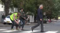 Paul Weller is filmed outside Abbey Road Studios as part of a 'LIve At The BBC' special Paul Weller at Abbey Road Studios on October 04 2012 in...