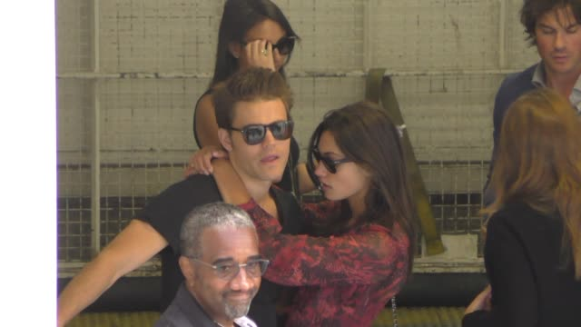 Paul Wesley and Phoebe Tonkin at ComicCon Celebrity Sightings on July 11 2015 in San Diego California