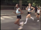 Paula Radcliffe running NYC Mini / Radcliffe sets new course record / Radcliffe speaking to camera before and after race Paula Radcliffe running NYC...