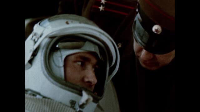 Pavel Balyayev and Alexei Leonov board the Voskhod 2