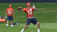 Paxton Lynch went through his first practice as a professional quarterback with the Denver Broncos at the team's rookie camp