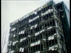 Peace process car bombs found LIBT X 9296/ITN London Docklands Buildings damaged by IRA bomb TILT