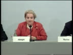 Peace talks/NATO strikes Madeleine Albright press conference SOT sitting next to German Foreign Minister Joschka Fischer appendix to this resolution...
