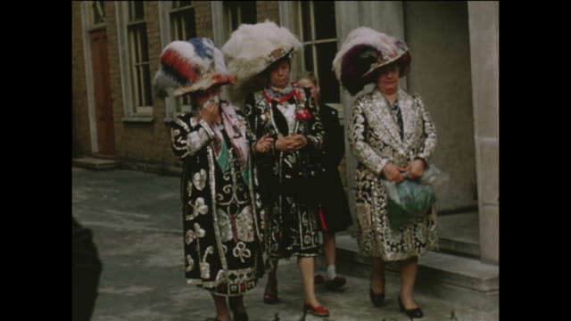 Pearly Kings and Queens filmed in the street at Walworth South East London home movie footage circa 1960
