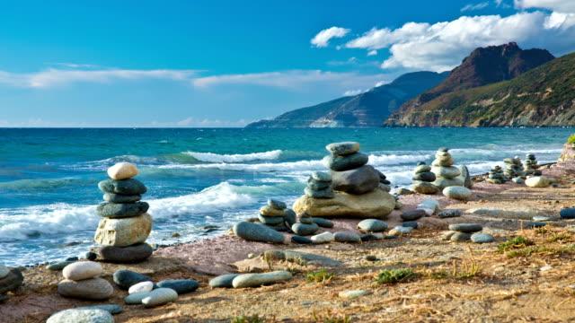 Pebble Stacks at Coastline