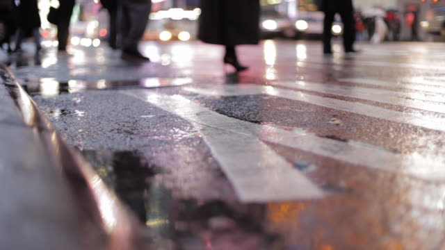 pedestrian and vehicle traffic in the rain | curb-level view