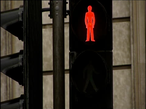 Pedestrian crossing lights changing from red man to green man