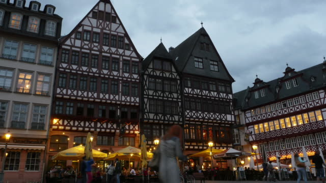 Pedestrian crowded at Romerberg Town square Frankfurt Germany Time-lapse