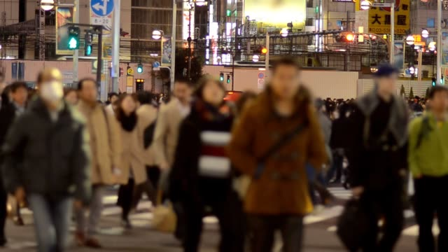 Pedestrians and businessperson crosswalk at Shinjuku
