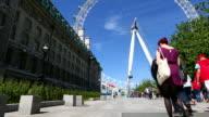 Pedestrians approaching London Eye