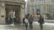WS Pedestrians at Regent Street in snow, London, United Kingdom