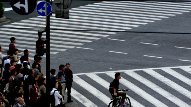 Pedestrians cross a street after traffic stops. Available in HD.