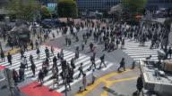 Voetgangers oversteken bij Tokyo Shibuya Crossing
