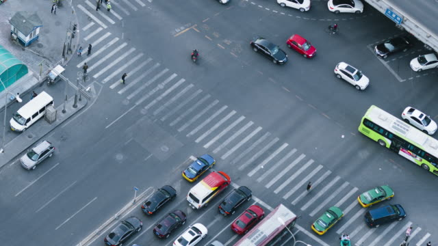 T/L WS HA PAN Pedestrians Cross the Zebra / Beijing, China