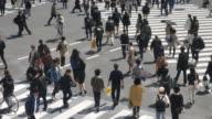Voetgangers oversteken bij Shibuya, menigte