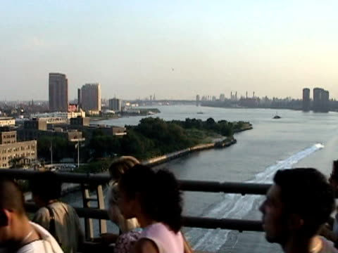 Pedestrians crossing Queensboro Bridge with Roosevelt Island in background during citywide blackout on August 14 2003 / New York New York USA / AUDIO
