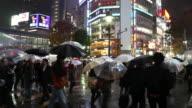 MS Pedestrians crossing street on rainy night in Shibuya / Tokyo, Japan