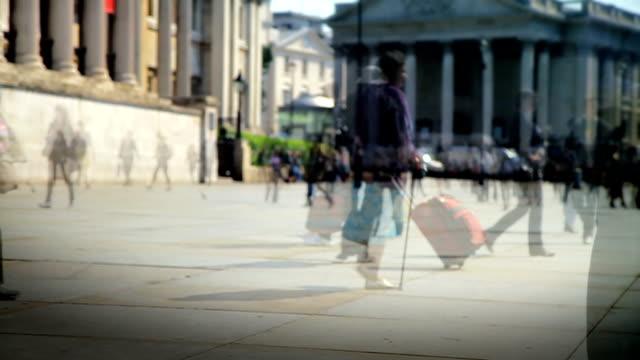 Pedestrians in slow motion. HD, NTSC, PAL