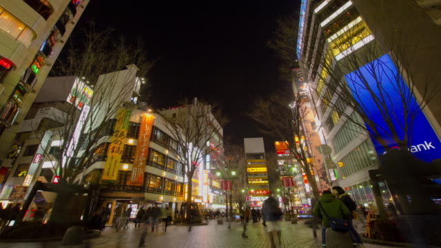 WS T/L Pedestrians on street / Shinjuku, Tokyo, Japan