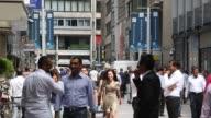 Pedestrians pass the front of the Beurs voor Diamanthandel diamond exchange in Antwerp Belgium on Thursday July 20 2017