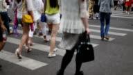 pedestrians walking at zebra crossing in urban city street,real time.