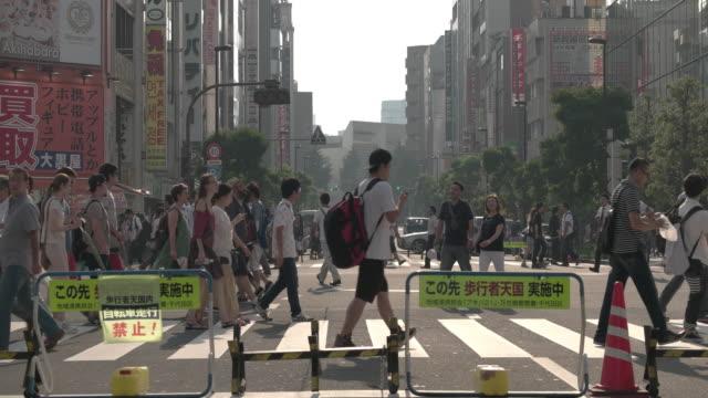 Pedestrians walking in Akibahara Pedestrian Area. Tokyo, Japan