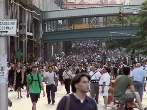 Pedestrians walking near Queensboro Bridge during citywide blackout on August 14 2003 / Queens New York USA / AUDIO
