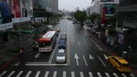 Pedestrians with umbrellas wait to cross a road in Taipei Taiwan on Monday Nov 4 Pedestrians walk over a street crossing Pan traffic passing along...
