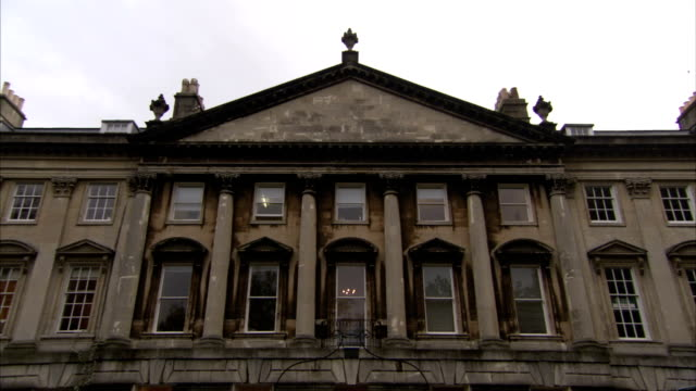 A pediment tops a grand townhouse in Queen Square, Bath. Available in HD.