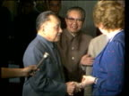 Peking INT MS Mrs Thatcher meeting and Vice Chairman Teng Hsiao Ping CS Ping's face LMS Ping and Thatcher seated talking