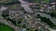Pembroke castello e città-Vista aerea-Galles, Contea di Pembrokeshire, Pembroke, Regno Unito